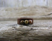 Brown Ring Band - Leather Jewelry - Leather Band - Leather Ring - Girls Leather Ring - Jasper Bead Ring