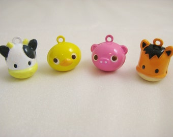 Farm Barnyard Collection - 4 Pieces - 1 Cow, 1 Horse, 1 Pink Pig, 1 Yellow Duck Animal Jingle Bell Charms