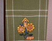 Kitchen Towel with Birdhouse and Sunflowers