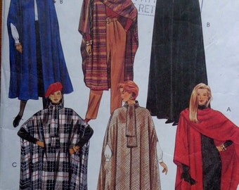 Cape Pattern McCalls 8936 Steampunk Vampire Maxi Length Cape Pattern Witch Queen Winter Coat w Hood or Tie Collar Mid Knee Size 6 - 20 UNCUT