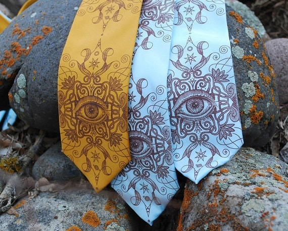 Silk Necktie - Psychedelic Eye Silk Tie - Intricate Art - Unusual Men's Ties - Eye Art - Psychedelic Art