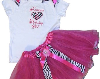 Personalized Birthday Hot Pink & Zebra TuTu Set Free Shipping
