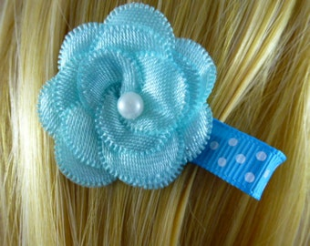 NEW  - Chic Blue Layered Satin Flower Clip....1.99, Hair clip,Hairclip,Hairbow,Hair Bow,Hair Accessory - HM79