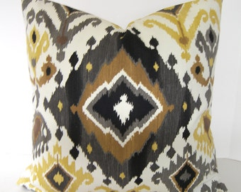 Ikat Decorative Pillow Cover / Both Sides / Brown / Grey / Gold / Yellow / Ochre / Black and Ivory