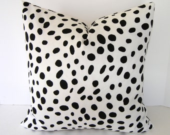 Decorative Designer Pillow Cover / Black and White / Spots / Dalmation / Animal