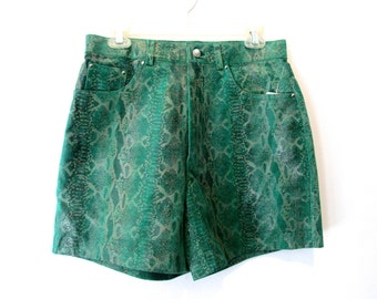 90's Leather Animal High Rise Shorts size - M/L