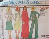 Womens Vintage Sewing Pattern - Unlined Jacket, Dress or Top, Skirt and Pants for Knits Only - McCall's 5842 - Size 12, Bust 34, Uncut