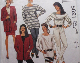 Women's Sewing Pattern - Zip Front Cardigan, Tunic, Top, Skirt and Pants - McCall's 5621 - Size Small (10-12), Bust 32 1/2 - 34, Uncut