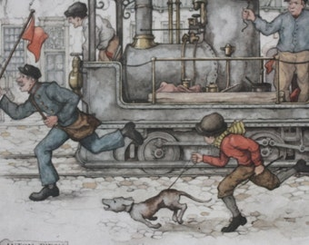 Anton Pieck The Steam Train print perfect for framing #2213 Manor Art Holland 1960's whimsical fairy tale like style dog passengers hurry