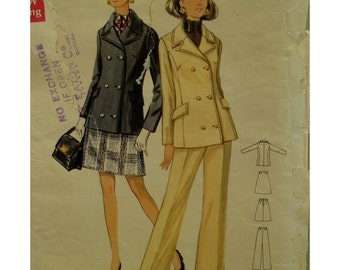 "60s Double Breasted Pea Jacket Pattern, Notched Collar, Flap Pockets, Mini Skirt, Pants, Butterick No. 5494 Size 14 1/2 (Bust 37"" 94cm)"