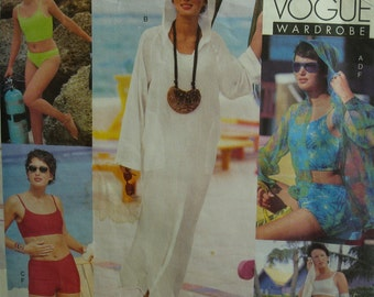 Beach Wear Pattern, Tankini, Swim Shorts, Hooded Cover-Up, Bikini, Sarong, Vogue Wardrobe No. 2300 UNCUT Size 6 8 10