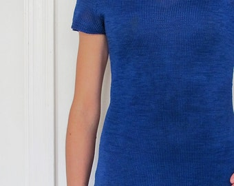 The 1980's Royal Blue Two-Piece Knit Sweaterdress