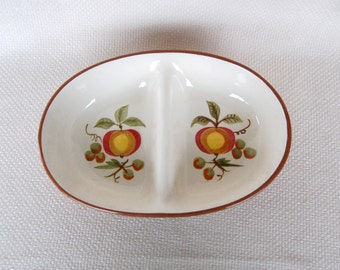 Vintage Stangl APPLE DELIGHT Divided Vegetable Bowl  Stangl Divided Vegetable Dish Circa 1965 - 1978  Retro 1960s 1970s Serving Piece