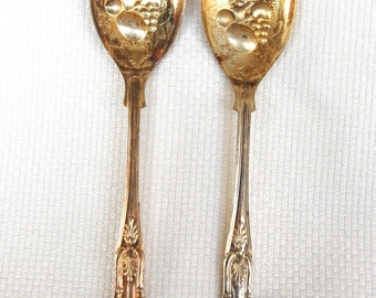 Vintage Sheffield Gold Tone Plated Salad Set Sheffield Salad Tongs Salad Fork and Spoon