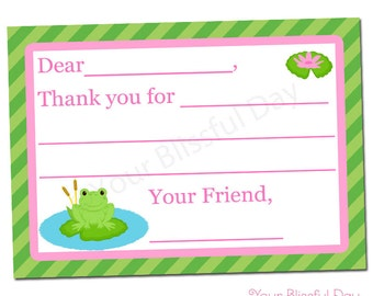 PRINTABLE Girl Frog Fill-in-the-Blank Thank You Cards #530