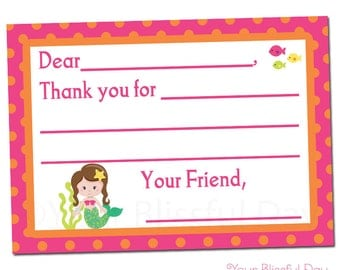 PRINTABLE Mermaid Fill-in-the-Blank Thank You Cards #552