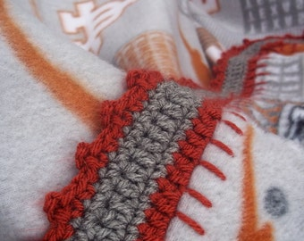 University of Texas Fleece Blanket with Crochet Border