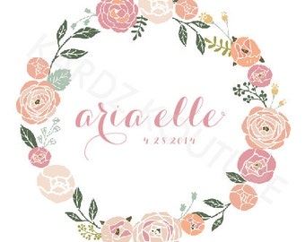 CUSTOM Name Print - floral wreath and name inside with date - 8x10 Print