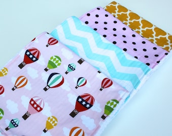 Hot Air Balloon Burp Cloth Set - Baby Girl Burp Rags - Hot Air Balloons, White and Teal Chevron, Brown and Pink Polka Dots, Yellow Lattice