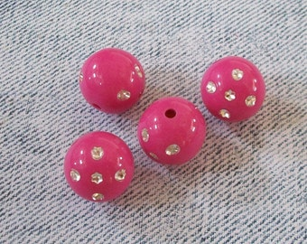 GUMBALL Dice Round Acrylic Bright Pink Beads (4 Pieces)