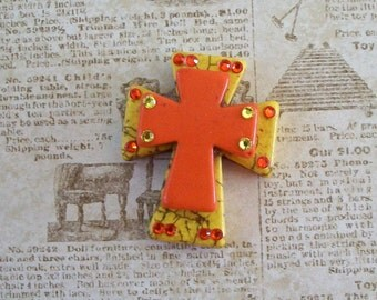 Large Stacked Yellow Stone Cross with Orange Stone Cross and Bling
