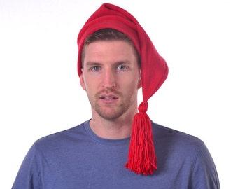 Red Stocking Hat  Elf Cap with Red Tassel Hat Adult Men Women Hat Phrygian Cap Red Fleece Hat with Tassel