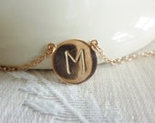 rose gold initial necklace,personalized rose gold necklace-rose gold personalized charm necklace,handstamped disc necklace,rose gold letters