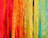 fun retro rainbow tie dyed silk curtain panel