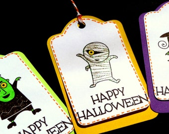 Happy Halloween Tags - Witch Mummy Frankenstein - Set of 6 - Candy Bag Tags - Gift Tags - School Snack Tags