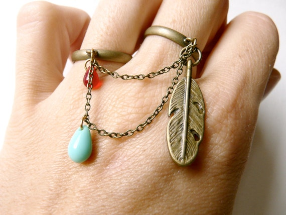Pirate double ring ( multi strands, multi chains, feather, bird, brass, red, drops, chain, love ) 55