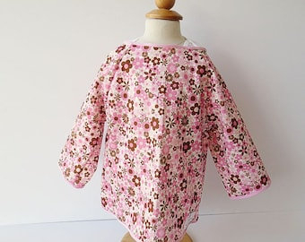 6/7 Art Smock - Pink Floral Print - Size 6 Size 7 - Waterproof and Long Sleeved