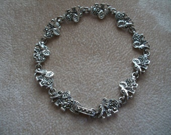 Elephant Link Bracelet, Sterling Silver and Marcasite, Chritmas Sale, By Nanas Vintage Shop on Etsy