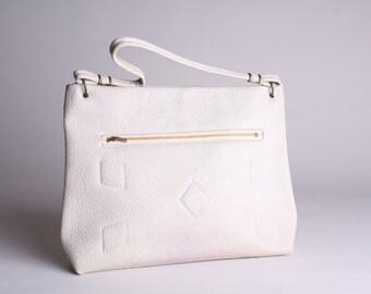 60s Cream Purse - Vintage 1960s Handbag with Zipper - Vegan Purse