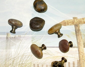 Natural Beach And River Rock Drawer Pulls Knobs