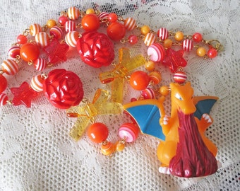 SALE - Pokémon Necklace - CHARIZARD Bandai toy Necklace  - Upcycled figure