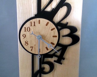 Unique Contemporary Maple Wood Mantel Clock with Abstract Numbers