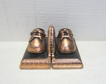 Vintage Baby Shoes Copper Plated Bookends
