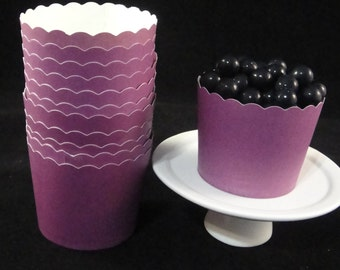 Violet Metallic  Baking Cups, Candy Cups, Dip Cups, Nut Cups, Weddings, Party Cups, Candy Buffets, Wedding Cupcakes, Favor Cups, QTY 12