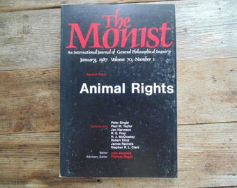 ANIMAL RIGHTS The MONIST January 1987 vtg book 1980s