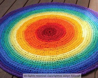 Round Rug Rainbow Round Rag Area Rug Recycled T Shirt Yarn MADE TO ORDER 40 inches