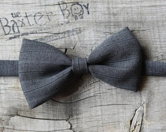 Dark grey pinstripe polyester little boy bow tie - photo prop, wedding, ring bearer, accessory