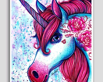 30 PERCENT OFF Colorful Pop Art Neon Tattooed Unicorn Portrait Drawing Poster 18x24 inch Signed Art Print Equine Magical Fantasy Wall Art Ho