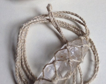Hemp Wrapped Healing Crystal Necklace- Lemurian Seed Crystal - Consciousness, Love, Spiritual Growth