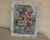 ROSES and Flowers Art ,Heirloom White Distressed Wood Frame  Size 18 x 14, Shabby Chic  Decor