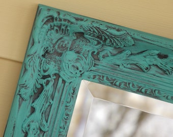 Ornate Mirror ,Shabby Chic, Bathroom Mirror, Shown in a Distressed Finish, Choose Color, Large 33 x 27, Nursery,Princess Room