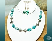 """17"""", Turquoise and White Striated Lampwork, Pewter Kissing Fish Spacers, Foamy Sea Necklace, Silver Lobster Clasp, And/Or MatchingEarrings"""