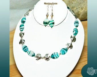 """17"""" Necklace Turquoise and White Striated Lampwork Pewter Kissing Fish Spacers Foamy Sea Silver Lobster Clasp And/Or Matched Silver Earrings"""