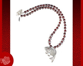"16"" Necklace 5mm Round Red Garnet Gemstones Sterling Silver Necklace AAA Marcasite Sterling Silver Fish Pendant Garnet Eye and Toggle Clasp"