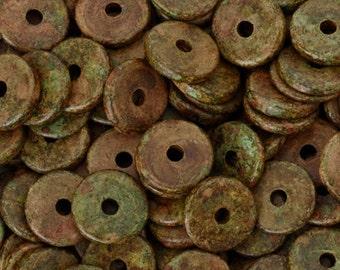 Ceramic Beads-13mm Round Disc-Rustic-Quantity 25