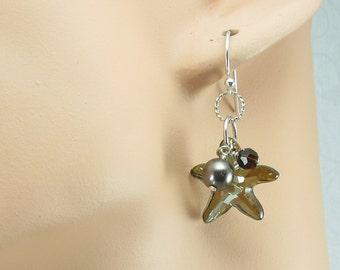 Crystal Bronze Starfish Sterling Silver Earrings